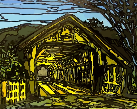 stain glass: Graphic of covered bridge at night with stain glass effects