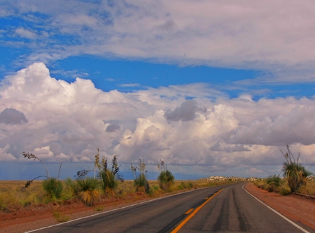 infrastructures: Road in New Mexico desert