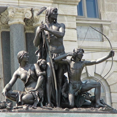 first nations: Public statue of first nations people in front of the Quebec Parliament building in Quebec City Stock Photo