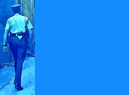 public servants: Graphic design of a policeman walking the beat with space to add details for specifics to be added. Stock Photo