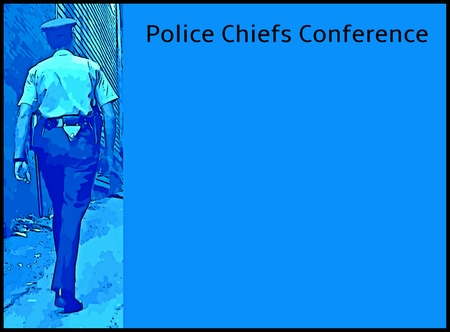 chiefs: Graphic design for Police Chiefs Conference with space to add dates, place and other details.