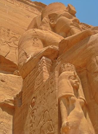 abu simbel: Close up of Abu Simbel tomb carvings.