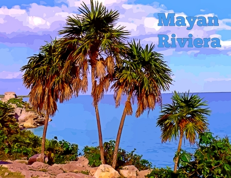 mayan riviera: Graphic of beautiful palms with text.