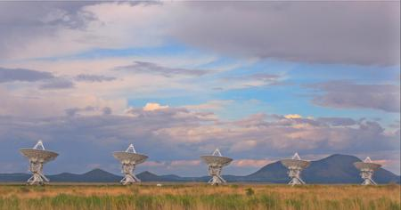 Photograph of the Very Large Array of radio telescopes in New Mexico.