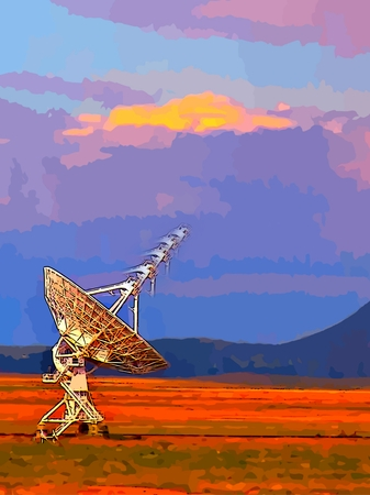 Graphically enhanced image of radio telescope in New Mexico.