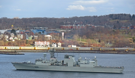 frigate: Canadian Navy Frigate the HMCS Charlottetown in Halifax harbor Editorial