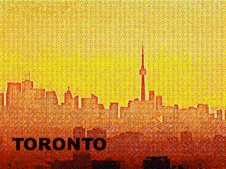 building cn tower: Digital design depicting Toronto skyline with text. Stock Photo