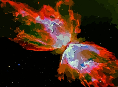 colliding: Graphic digital of matter colliding in space.