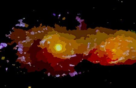Graphic design of colliding galaxies