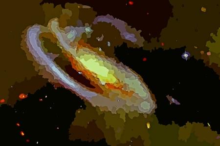 Digital graphic of a spiral galaxy.