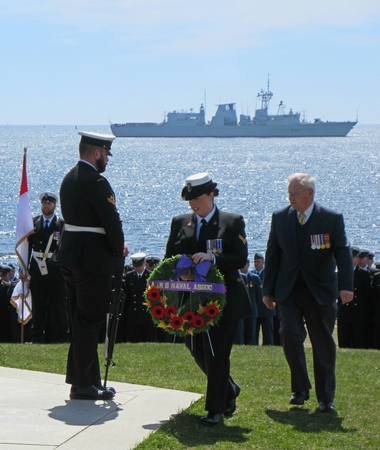 HMCS Montreal off shore during the Battle of the Atlantic Memorial Service at Point Pleasant Park in Halifax, Nova Scotia, Canada. Editorial