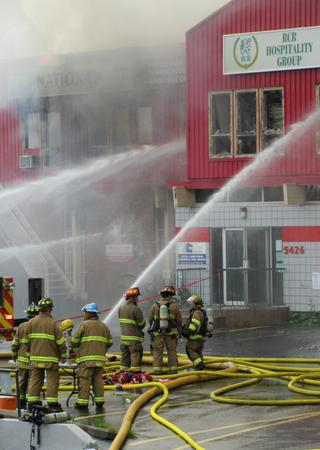 Firefighter command centre on fire scene during major fire in the city of Halifax, Nova Scotia, Canada.