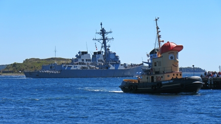 Famous children's toy character Theodore Tugboat in Halifax Nova Scotia harbor during NATO exercises. Editorial