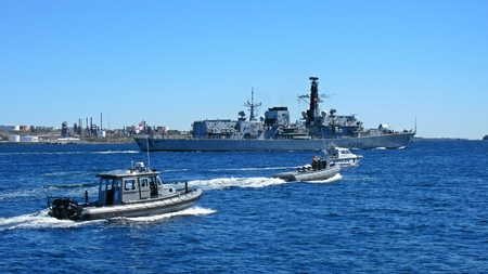 Busy Halifax harbor during NATO exercise.