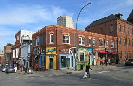 Unique shops and restaurants at a Halifax Nova Scotia intersection.