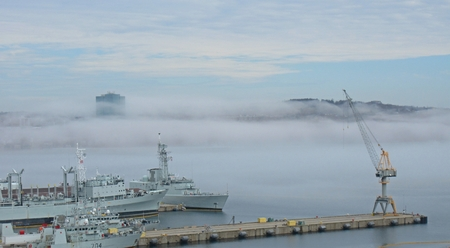 View of Dartmouth from Halifax side of the harbor, is obscured by fog.