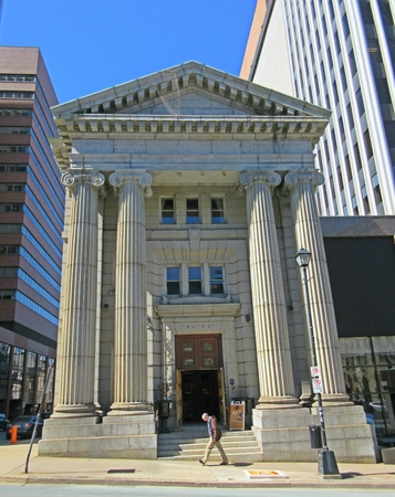 Classical architecture in Halifax was an old bank now a bar.