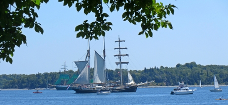 Horizontal composition of tall ships and smaller recreational sailboats in Halifax