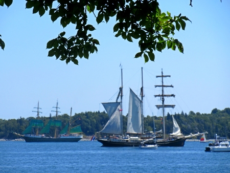 Tall ships hoisting sails in Halifax Harbor.