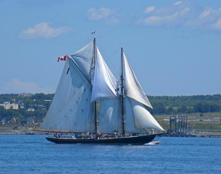 The famous Bluenose Schooner in Halifax Nova Scotia harbor.