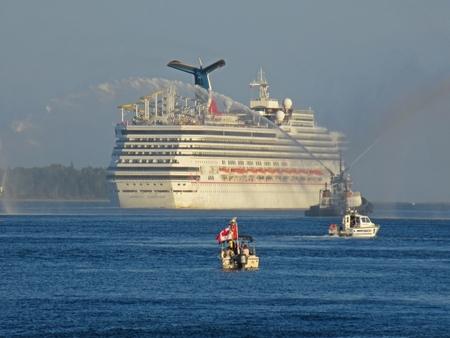 Carnival Cruise Ship departing Halifax harbor in Nova Scotia.