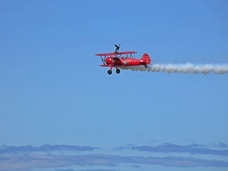 Wing walking daredevil athe the Atlantic Canada Air Show.