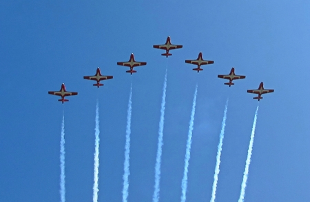 Famous Canadian Snowbirds in flying formation at air show. Banco de Imagens - 85669243