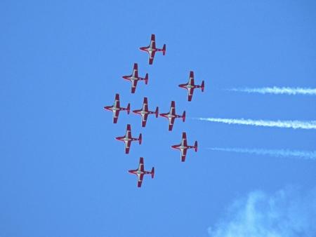 Snowbirds air demonstration team flying in formation overhead in Greenwood, Nova Scotia, Canada. Banco de Imagens - 85669241