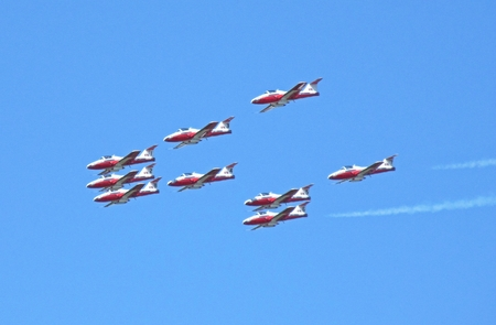 Canadian Airforce Snowbirds performing at the Atlantic Canada Airshow.