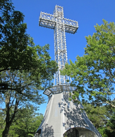 Close up of the Cross on Mont Royal Quebec. Banco de Imagens - 85672058