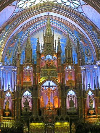 Beautiful interior of Montreal's Notre Dame Cathedral. Editorial