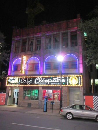 Cleopatra Strip Club in Montreal at night. Editorial