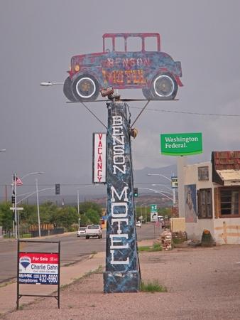 Dilapidated hotel sign in Benson Arizona.