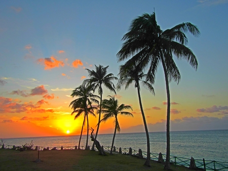 Extra large beautiful sunset in the tropics.