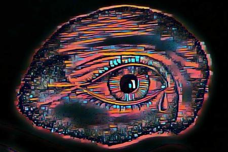 Colourful graphic depiction of a sad eye shedding a tear.