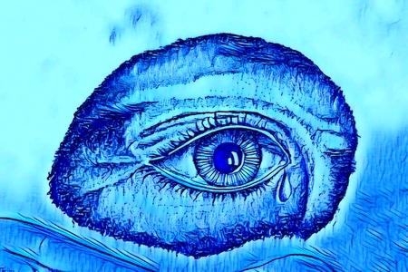 Graphic depiction of an eye shedding a tear in blue tones. Banco de Imagens
