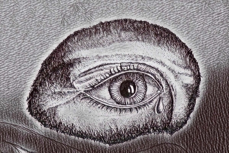 Graphic depiction of an eye shedding a tear.