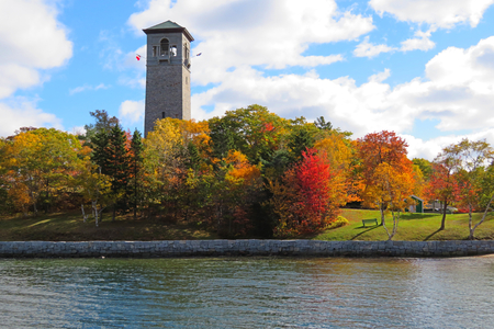 View of Dingle Tower in Sir Arthur Flemming Public Park in Halifax Nova Scotia in the fall season. Banco de Imagens - 115681220