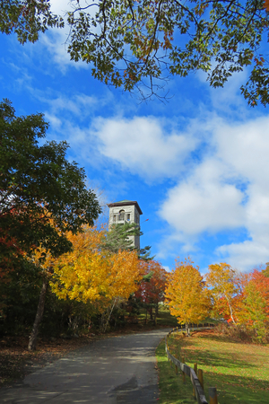 Road through Sir Arthur Flemming Public Park in Halifax Nova Scotia in the fall. Banco de Imagens - 115681235