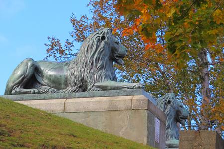 Majestic Lion statues at Dingle Tower in Halifax's Sir Arthur Flemming Public Park, Nova Scotia.