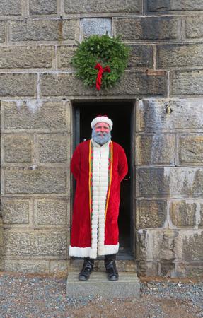 Actor portraying Santa Clause during Victorian era at Halifax Citadel Fort in Nova Scotia, Canada.