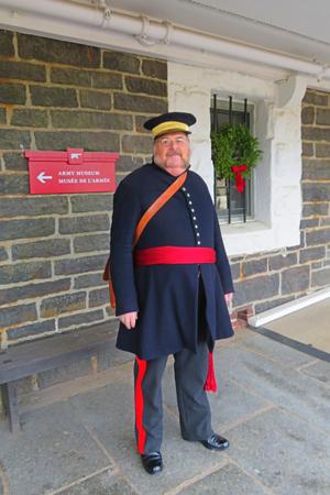 Animator in World War One Military costume at Halifax Citadel Historic Fort.