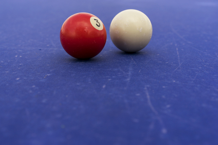 Pool Billiards Balls On A Blue Table