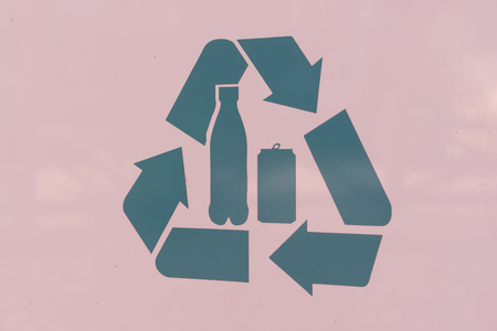 resourceful: Recycling Symbol Sign Bue On A White Background Stock Photo