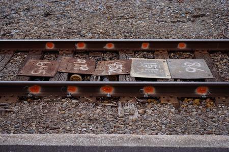 railtrack: Old Railroad Tracks On A Pile On Stones And Rocks Stock Photo