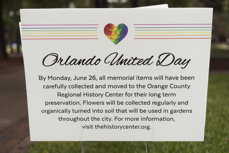 stating: Orlando, FL USA June 13 2017 Sign Stating Where Pulse Shooting One Year Memorial Items Will Be Placed