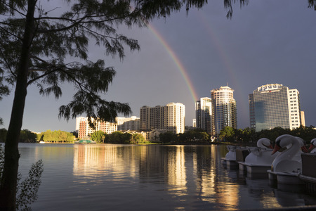 Orlando, FL July 20, 2017 Rainbow Over Lake Eola