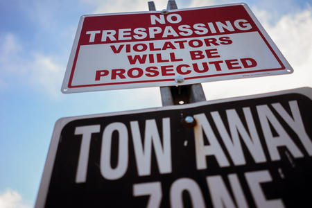 tresspass: No Trespassing Violators Will Be Prosecuted Sign Stock Photo