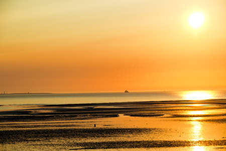 Humber Estuary at sunrise showing the beach area as the tide is out