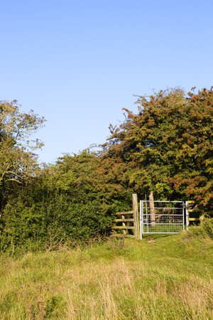 Bridleway gate in a grassy field near Wold Newton in the Lincolnshire Wolds Stock Photo